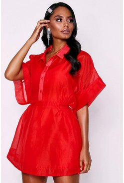 Red 'Neave' Mesh Dress