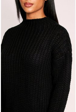 Black knitted fisherman knot high neck jumper