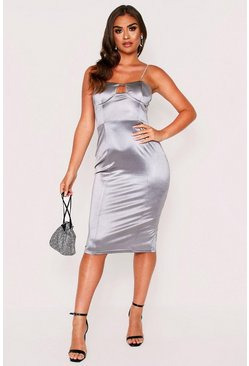 Silver Diamante Strap Bodice Stretch Satin Midi Dress