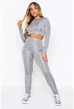Cropped Raw Edge Co Ord, Grey