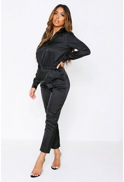 Black Satin Shirt & Trouser Co-Ord