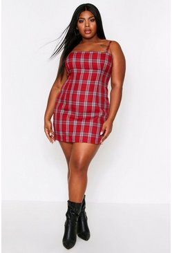 Red Square Neck Checked Pinafore Dress