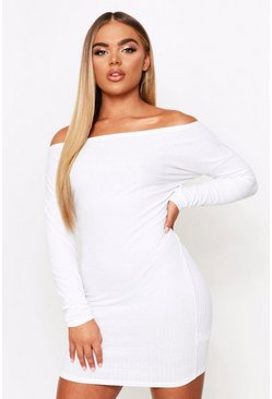 Cream Off The Shoulder Soft Rib Mini Dress
