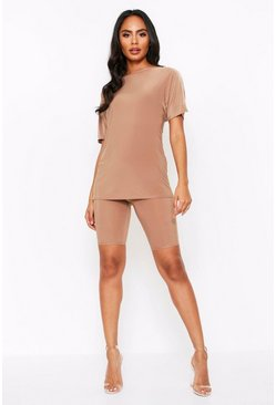 Oversized T shirt Co Ord, Camel
