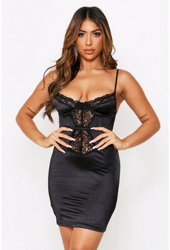 Lace Underwired Satin Bustier Mini Dress, Black