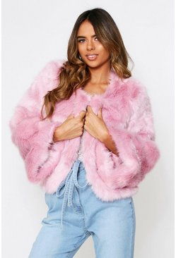 Rose pink Faux Fur Cropped Jacket