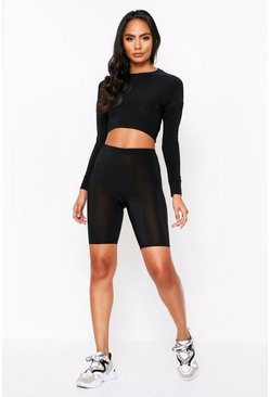 Black Slinky Cropped Cycling Short Co Ord