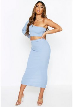 Dusty blue Ribbed One Shoulder Top + Midi Skirt Coord
