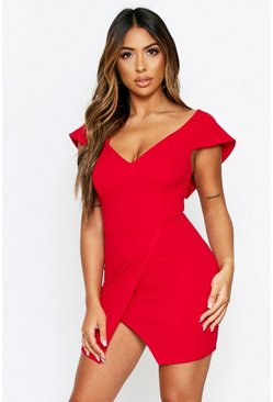 Red Bardot Sweetheart Neck Bodycon Mini Dress