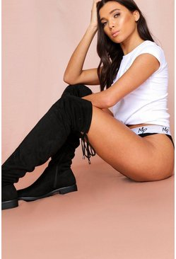 Black Over The Knee Boot Diamante Detail
