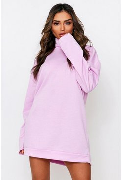 Lilac High Neck Loop Back Sweater Dress