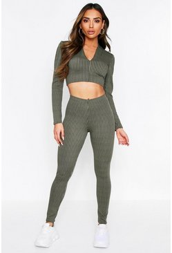 Khaki Long Line V-Neck Top/Leggings Lounge Set
