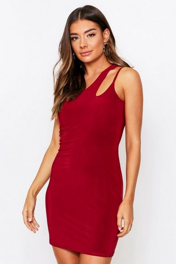 Berry Double Layer Slinky Asymmetric Cut Out Dress