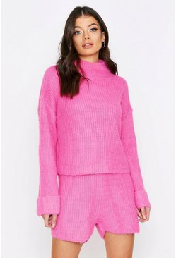 Pink Turtle Neck Fluffy Knitted Short Lounge Set