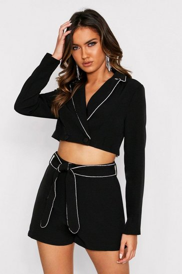 Black Diamante Trim Cropped Blazer