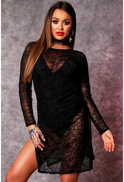 Black Long Sleeve Cobweb Thigh Split Dress