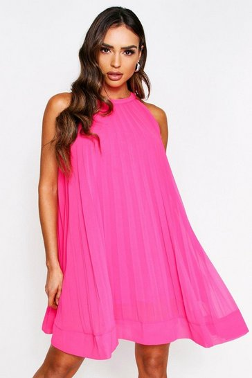Pink Pleated Halterneck Swing Dress