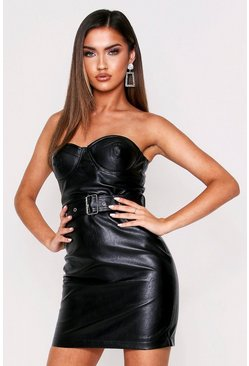 Black Cupped Strapless Belted PU Dress