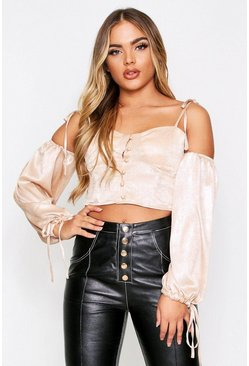 Champagne Metallic Button Front Balloon Sleeve Top