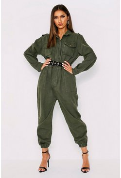 Khaki Denim Belted Utility Jumpsuit