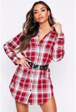 Burgundy Brushed Checked Oversized Shirt Dress