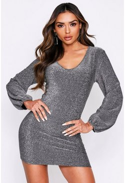 Silver Plunge Key Hole Gathered Back Glitter Mini Dress