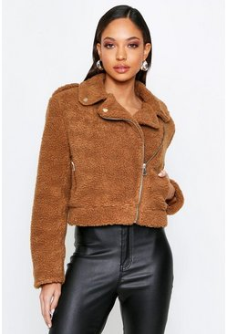 Camel Teddy Faux Fur Biker Jacket