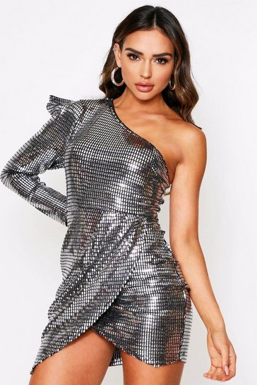 Pewter Sequin One Shoulder Dress