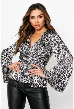 Black Leopard Print Twist Front Long Sleeve Blouse