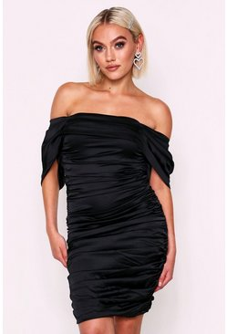 Black Satin Ruched Off Shoulder Dress