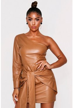 Camel One shoulder tie front dress