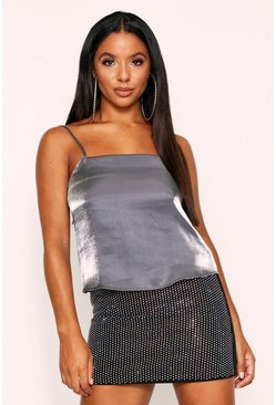Silver Metallic Satin Square Neck Cami Top