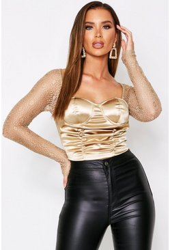 Gold Satin Ruched Bustier Top