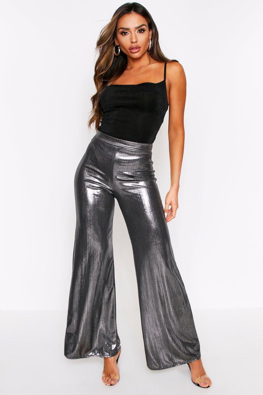 60s – 70s Pants, Jeans, Hippie, Bell Bottoms, Jumpsuits Womens Metallic Wide Leg Pants - grey - 12 $10.00 AT vintagedancer.com