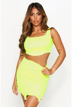 Top a corsetto in rete fluo, Lime