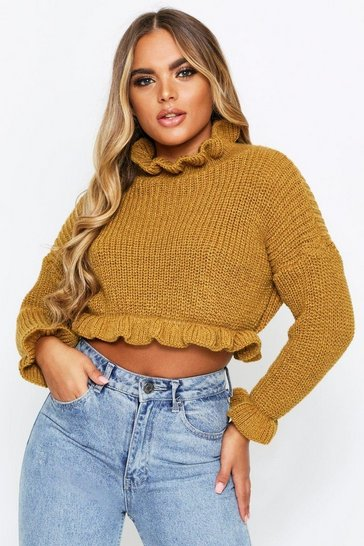 Mustard Ruffle Cropped Knitted Jumper
