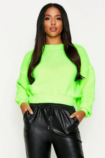 Yellow Knitted Rib Crew Neck Crop Jumper