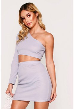 Grey One shoulder rib top & mini skirt