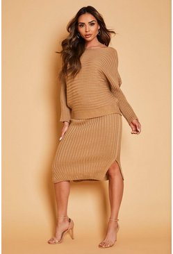 Camel Knitted Oversized Jumper