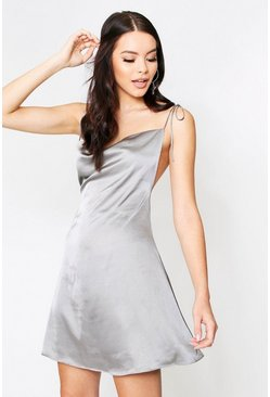 Silver Satin Cowl Neck Tie Strap Dress