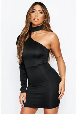 Black One Shoulder High Neck Mini Dress
