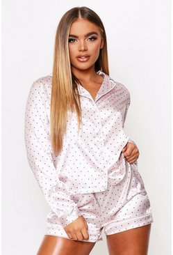 White Satin Spot Piping Detail Pyjama Set