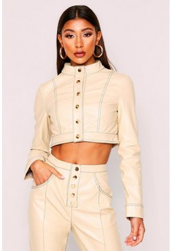 Stone Contrast Stitch Cropped Pu Jacket