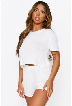 Ecru Short Sleeved Crop PJ Set