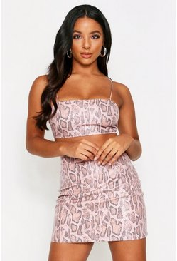 Dusky pink Snake Print Faux Suede Co-ord Mini Set