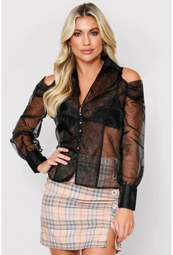 Black Cutout Shoulder Organza Shirt