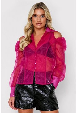 Fushia Cutout Shoulder Organza Shirt