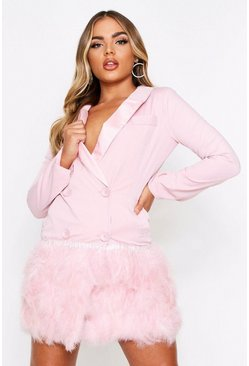 Soft pink Feather Detail Blazer Dress