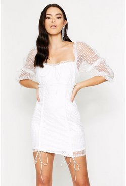 White Lace Ruched Milk Maid Dress