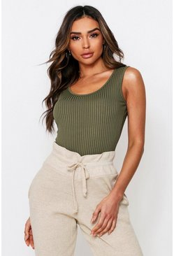 Khaki Rib Scoop Back Bodysuit